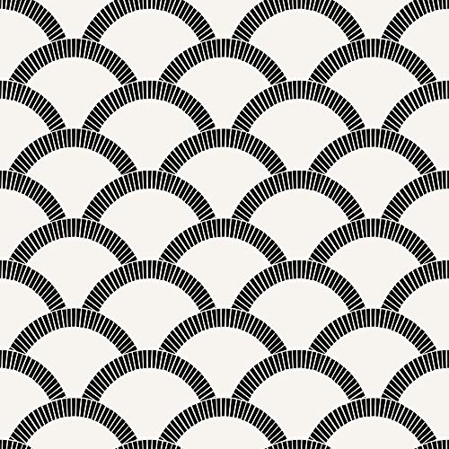 Tempaper Black and Cream Mosaic Scallop | Designer Removable Peel and Stick Wallpaper ()