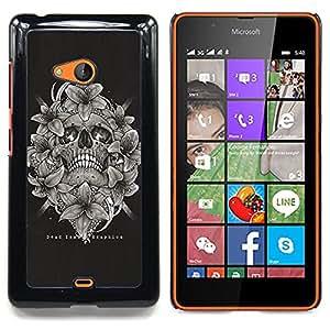 """For Nokia Lumia 540 Case , Cráneo Blanco Negro florales Muerte Huesos"""" - Diseño Patrón Teléfono Caso Cubierta Case Bumper Duro Protección Case Cover Funda"""