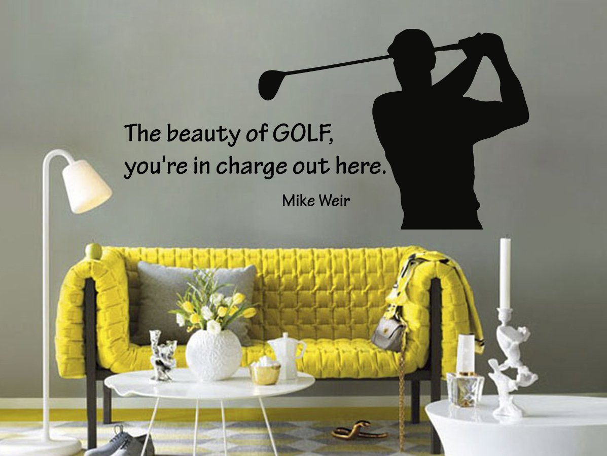 Housewares Vinyl Decal Sport People Man Golf Player Quote The Beauty Of Golf..  Home Wall Art Decor Removable Stylish Sticker Mural Unique Design For Any  ...