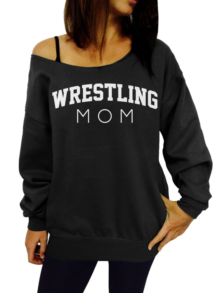 Wrestling Mom Slouchy Sweatshirt - X-Large Black White Ink by Dentz Design