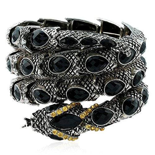 Winter's Secret Ancient Silver Color Snake Wide Wrap Drop Crystal Beads Diamond Accented Style Bracelet