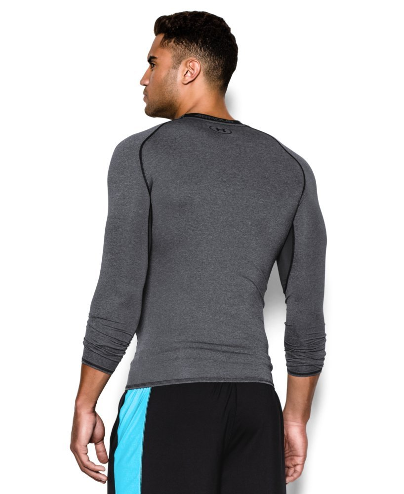 Under Armour Men's HeatGear Armour Long Sleeve Compression Shirt, Carbon Heather (090)/Black, Small by Under Armour (Image #2)