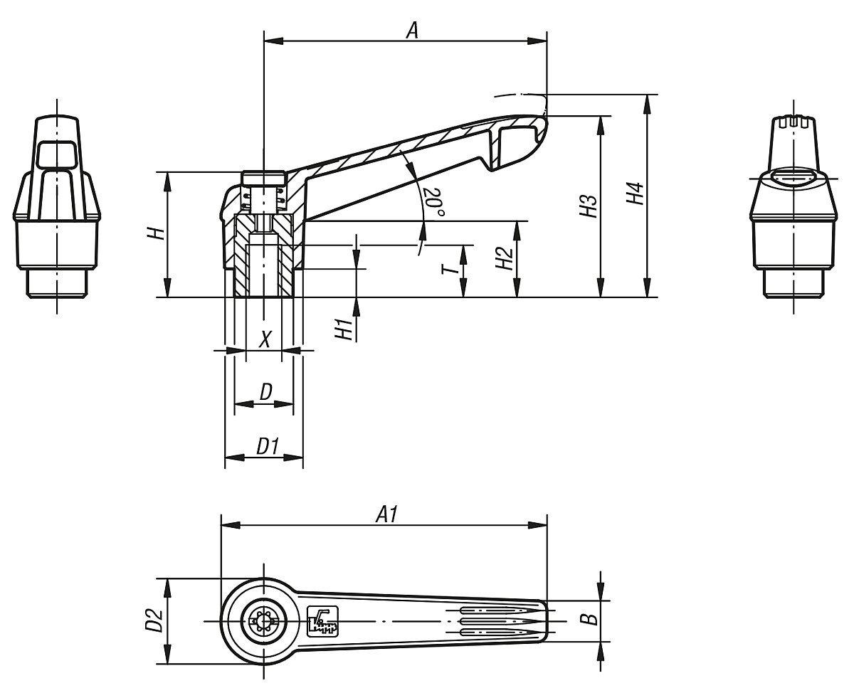 1/pi/èce Komp: acier inoxydable RAL 1021/JAUNE COLZA Bascule Levier de serrage Taille 5/M16/plastique jaune ral1021 k0270.51616