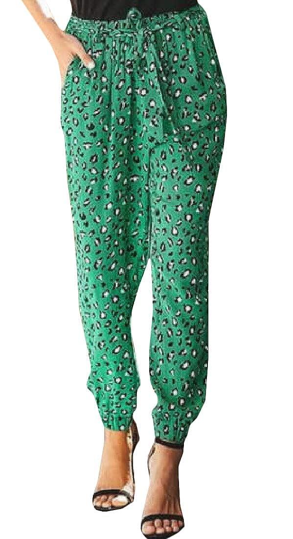 Joe Wenko Womens Leopard Summer Casual Trousers Loose Jogger Harem Pant