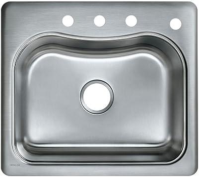 Kohler K 3362 4 Na Staccato Single Basin Self Rimming Kitchen Sink Stainless Steel Single Bowl Sinks Amazon Com