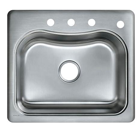 KOHLER K-3362-4-NA Staccato Single-Basin Self-Rimming Kitchen Sink,  Stainless Steel