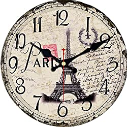 MEISTAR Wall Clock Europe Family Decoration Retro/Country/French Style Quiet Non-Ticking Wooden Wall Clock Art Decor(12 Inches,Eiffel Tower)