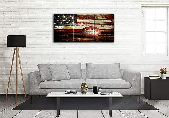 Urttiiyy Football American Flag Canvas Prints Wall Art Retro Wooden US USA Flag Rustic Sports Home Decor Large Posters 3 Panel