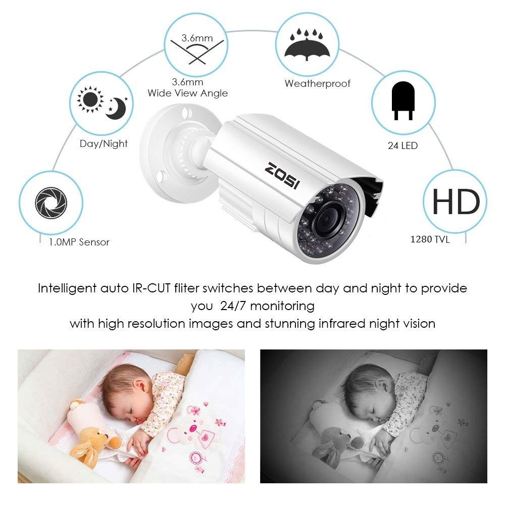 ZOSI 720P HD-TVI Home Surveillance Camera System,4PCS Indoor/Outdoor Weatherproof Security CCTV Camera with Infrared and Night Vision by ZOSI (Image #5)