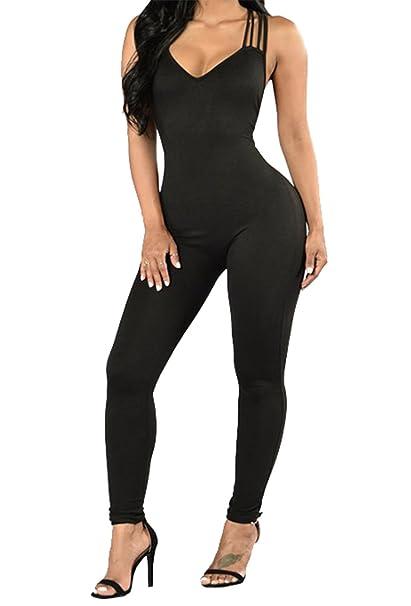 Amazon.com: Cuerpo de Multi Correas Sexy Abrazando Jumpsuits ...