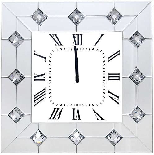 Major-Q 9097406 20″ Modern Style Beveled Mirror Faux Rhinestone Square Wall Clock