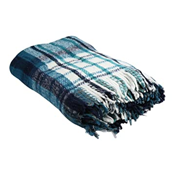 2216751200 Yogavni Extra Heavy Twin Size Brushed Plaid Reversible Mexican Yoga Blanket  of 100-Percent Recycled