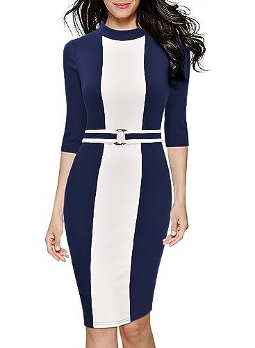 Miusol Women's Formal Half High Collar Optical Illusion Business Slim Pencil Dress