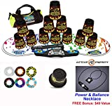 Speed Stacks Combo Set ''The Works'': 12 BLACK FLAME 4'' Cups, RAINBOW DROP Gen 3 Mat, G4 Pro Timer, Cup Keeper, Stem, Gear Bag + Active Energy Necklace