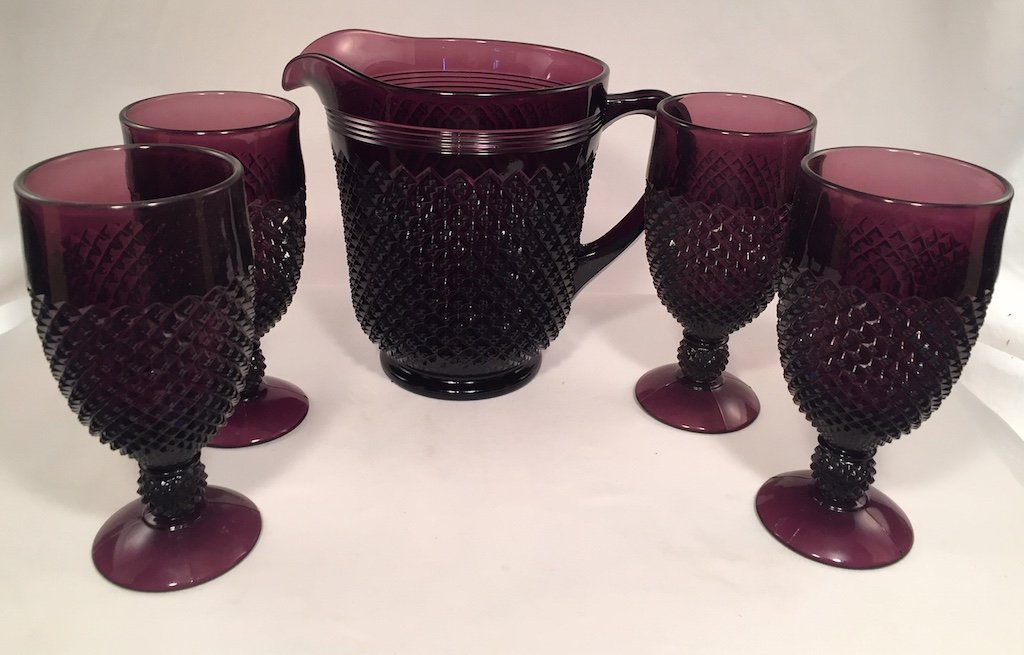 Addison Pattern Glass Pitcher Set - American Made (5 Piece Set, Amethyst) by Rosso Glass (Image #1)