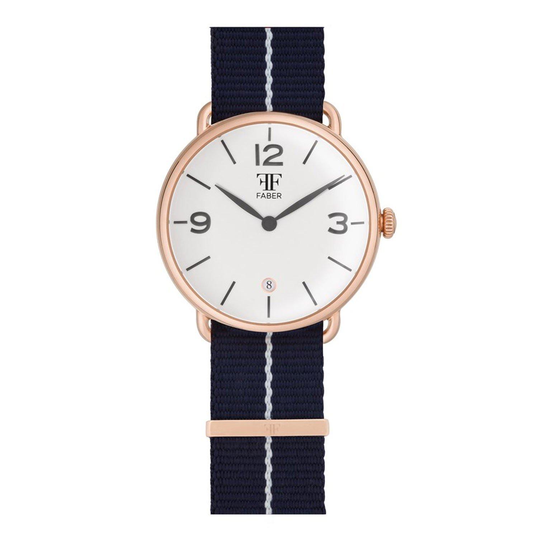 Faber No.2 Series F1008RG Armbanduhr RosÉgold Unisex Nato-Strap Blau Weiss
