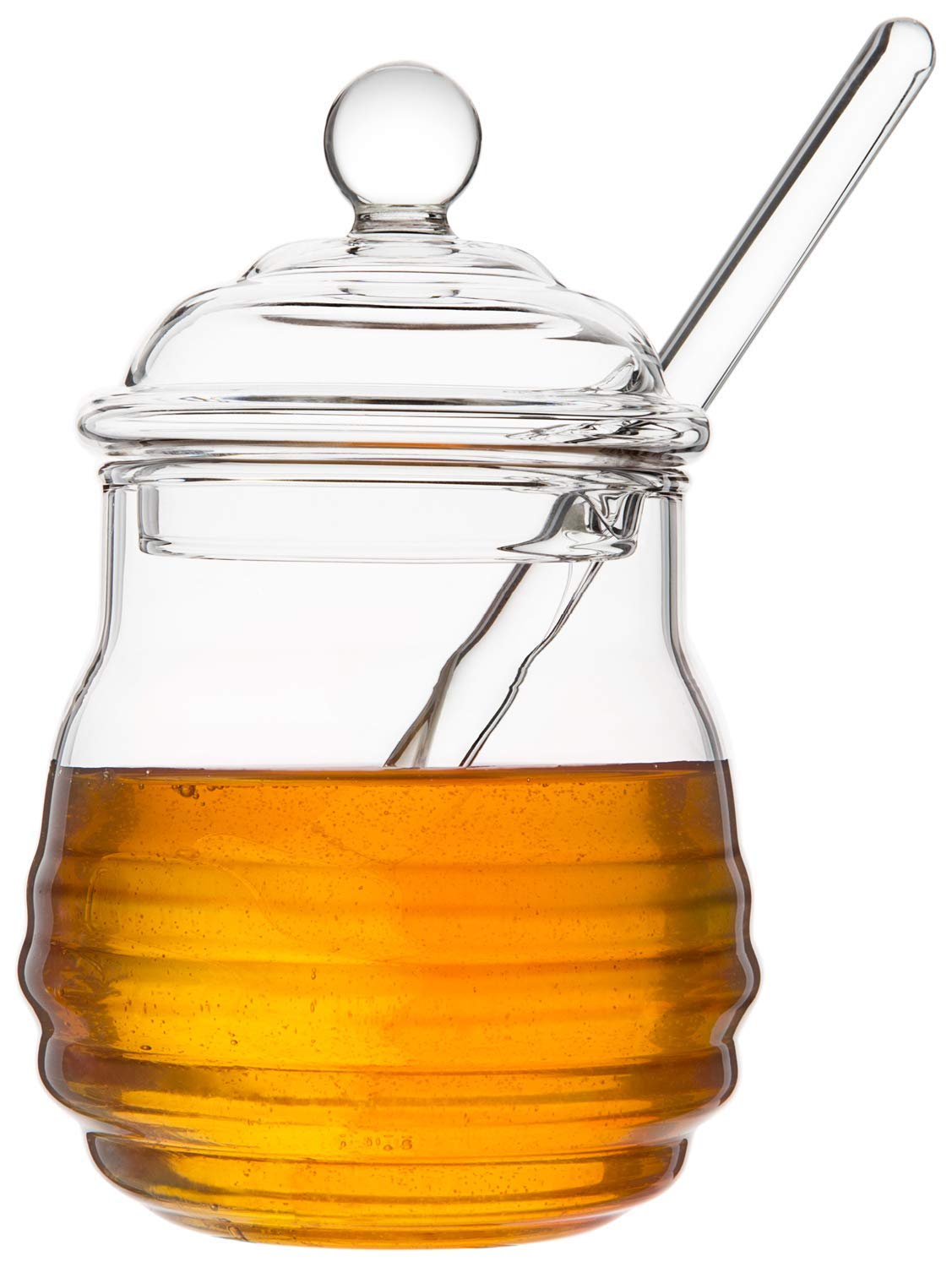 Mkono Honey Jar with Dipper and Lid Glass Beehive Honey Pot for Home Kitchen,9 Ounce,Clear
