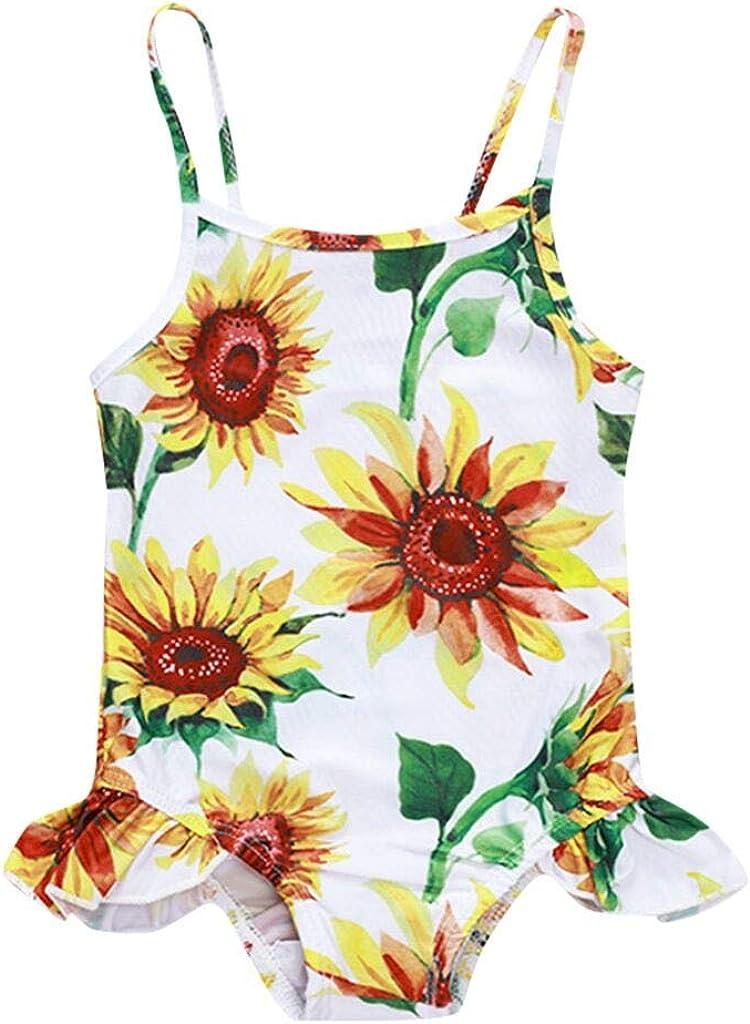 CCSDR 0-2 Year Old Toddler Baby Kids Girls Beach Swimsuits Sunflower Ruffled Bikini