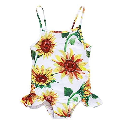 47d62e5296 Amazon.com: KONFA Baby Girls One Piece Swimsuit Beach Bathing Suit Toddler  Newborn Swimwear Sunflowers Romper Rashguard Cover Up: Clothing