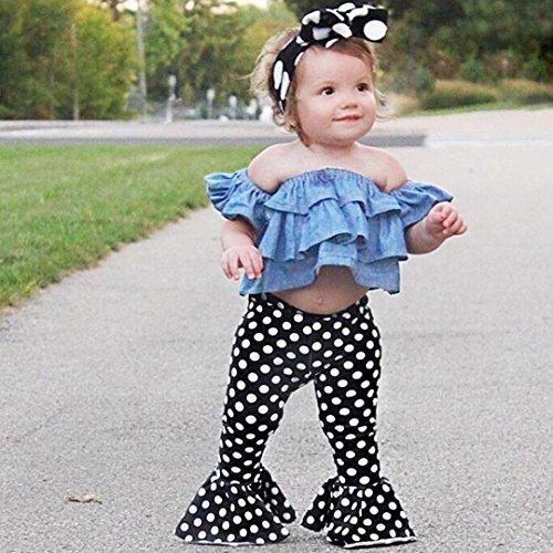 Omiky® Kinder Baby Mädchen Outfits Off Schulter Denim Tops + Flares Hosen Kleidung Set Blau