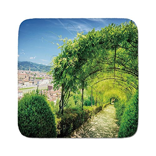 (Cozy Seat Protector Pads Cushion Area Rug,Italian Decor,Boboli Gardens in Florence Italy Famous Natural Landmark Tourist Attraction,Green Blue,Easy to Use on Any Surface)