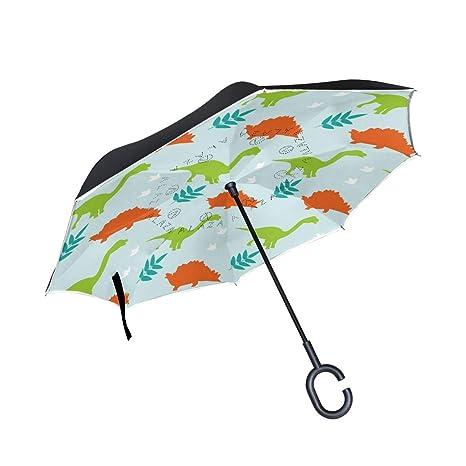 10fb6182267a Amazon.com : Jojogood Dinosaur Background Inverted Umbrella Reverse ...