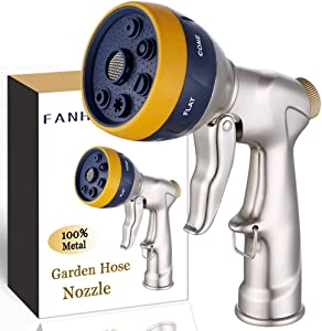 FANHAO Garden Hose Nozzle Heavy Duty, 100% Metal Spray Nozzle High Pressure Water Hose Nozzle with 7 Patterns for Watering Garden, Washing Cars and Showering Pets