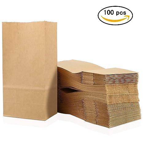 JTShop - 100 Bolsas de Papel Kraft para Alimentos, sándwich ...