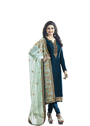 52e87a1ff Designer Desk Crepe Silk Cyan Party wear Salwar Kameez in bollywood style  with Heavy Embroidery Work