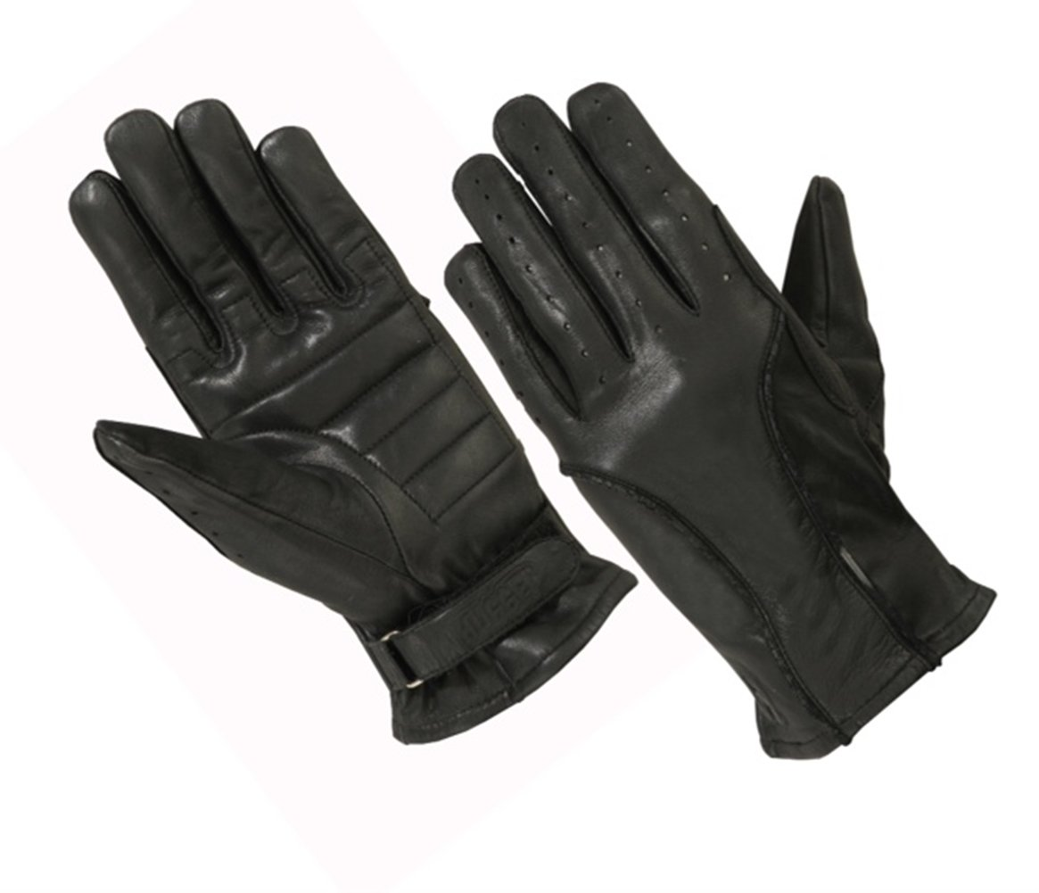 Ladies Unlined Perforated Water Resistant Leather Driving Glove, Motorcycles, and Police (Medium, Black)