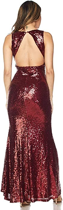 0211bee08b049 Sequin Maxi Flared Mermaid Tail Dress - Burgundy. Back. Double-tap to zoom