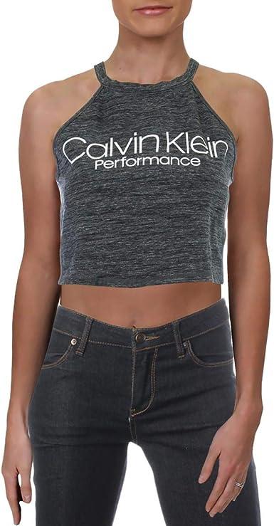 Calvin Klein Halter Neck Crop Top Camisa de Yoga, Cemento ...