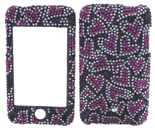 - BLACK with PINK & SILVER HEARTS DIVA CRYSTALS snap on cover faceplate for Apple Ipod Itouch 2 & 3