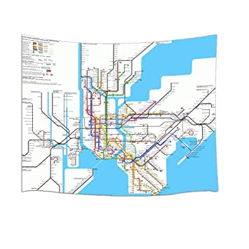 U Bahn Karte New York.Rrfwq 3d Digitaldruck Karte Dekor New York City U Bahn Tapisserie