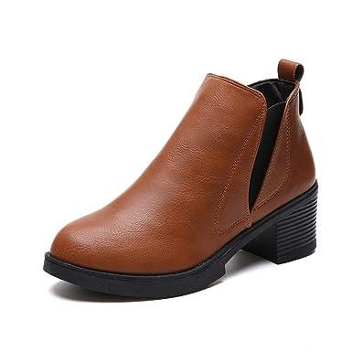 Kinlene Nuevas Botas de Invierno para Mujer Botines de tacón bajo Moda Botas Otoño Invierno Botas Zapatos: Amazon.es: Ropa y accesorios