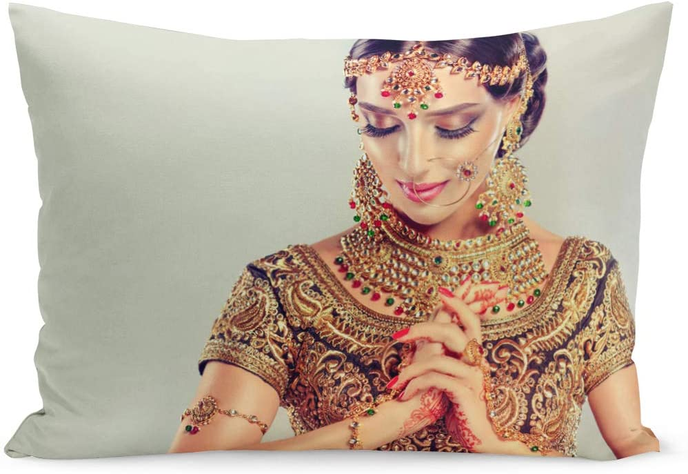 Amazon Com Emvency Throw Pillow Cover Portrait Smiling Of Beautiful Indian Girl Young Woman Pillow Case Cushion Cover Lumbar Pillowcase Decoration For Couch Sofa Bedding Car Home Decor 20 X 36 Inchs Home