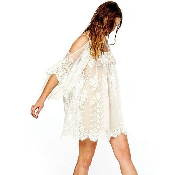 GillBerry Mujer Nueva Cosecha Boho Bordado Floral Encaje de Ganchillo Mini Vestido (XL, Blanco