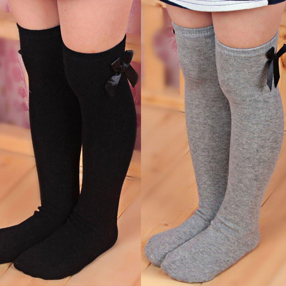 Sanwood Girls Long Knee Socks Kids Bowknot Striped Leg Warmers