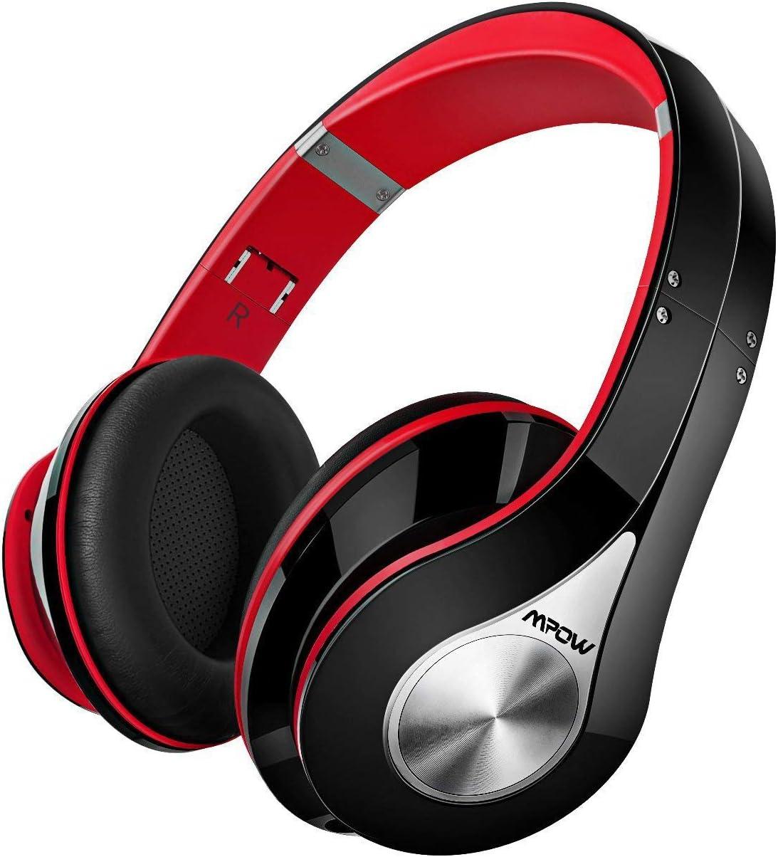 Mpow 059 Auriculares Diadema Bluetooth con Micrófono CVC 6.0, 25 hrs de Reproducir, Sonido Estéreo, Auriculares Diadema Inlámbricoa para TV, Cascos Bluetooth Diadema Plegable para Skype/PC/Móvil, Rojo