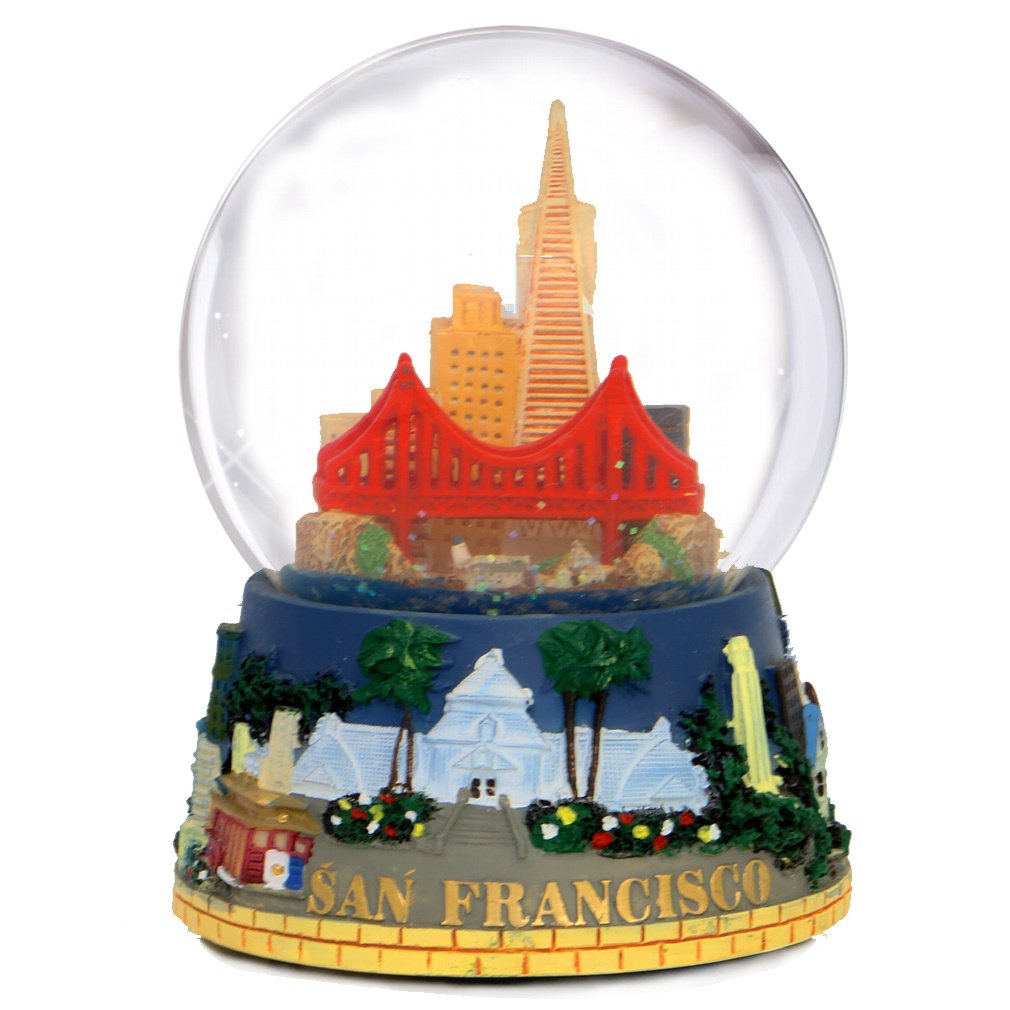 City-Souvenirs San Francisco Snow Globe (5.5 Inches Tall), Musical California Snow Globes