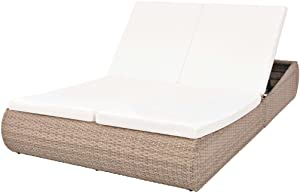 Festnight 2-Person Outdoor Lounge Bed with Cushion Backrest Adjustable Double Sun Lounger Poly Daybed Beige Poly Rattan Sunbed for Balcony, Garden, Poolside, Lawn, Backyard Furniture
