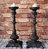 YQ WHJB Antique Cast iron Candle holder,European Single head Candlestick,Classical Candlelight dinner props Table Home furnishings Candles stand-B