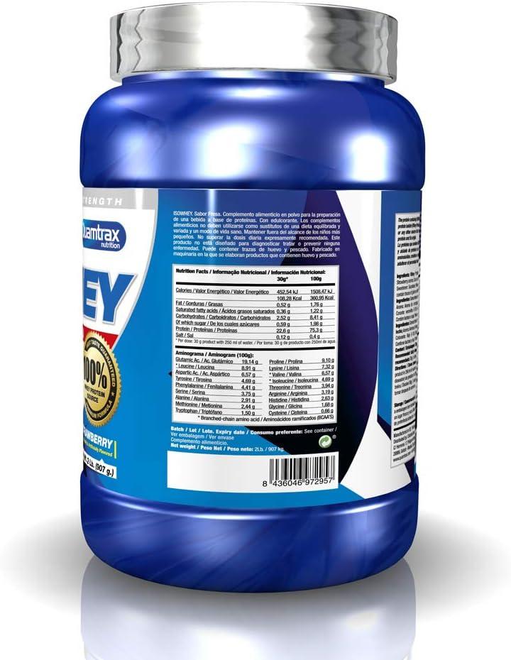 Quamtrax Proteina Iso Whey Sabor Fresa - 907 gr