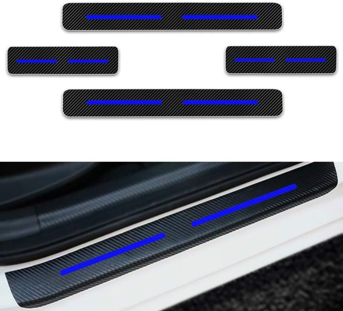 Per 206 207 208 307 308 Battitacco Soglia Porta Auto,Carbon Fiber Sticker adesivi Styling,Esterno Batticalcagno Prevenire lusura Previene graffi 4Pezzi Blu