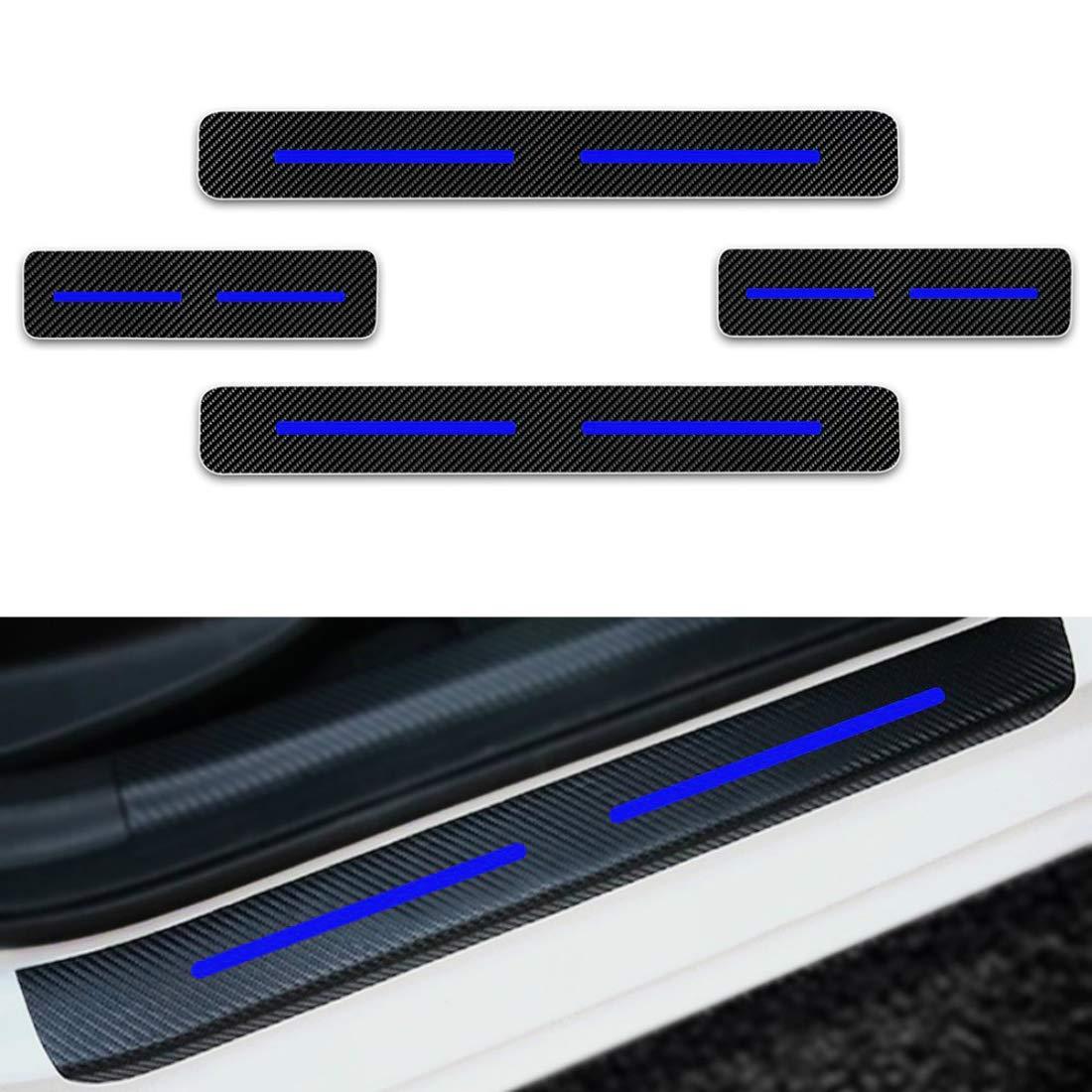 F/ür 206 207 208 307 308 Einstiegsleisten Schutz Aufkleber,Verschlei/ß vermeiden Verhindern Sie Kratzer Rutschfest Kohlefaser 4St/ück Blau