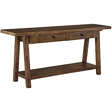 Signature Design by Ashley T863-4 Sofa Table, Weathered Brown