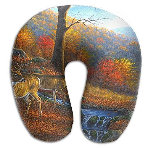 Laurel Neck Pillow Forests Attractions Autumn Deer Travel U-Shaped Pillow Soft Memory Neck Support for Train Airplane Sleeping