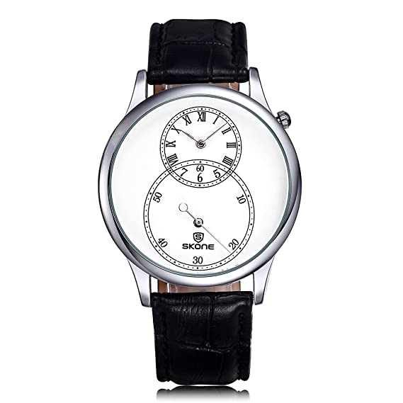 Los relojes de los hombres de la segunda esfera Skone por separado con cinco tipos de relojes de pulsera de cuero SJ506401: Amazon.es: Relojes