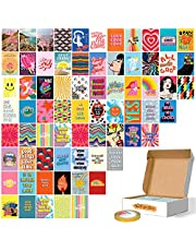 Fardes Wall Collage Kit Aesthetic Pictures - 70 Pcs of 4x6 Inches Aesthetic Posters - Colorful Indie Room Decor for Teen Girls - Cute Hippie Room Decor Aesthetic for Bedroom - With Double Side Tape
