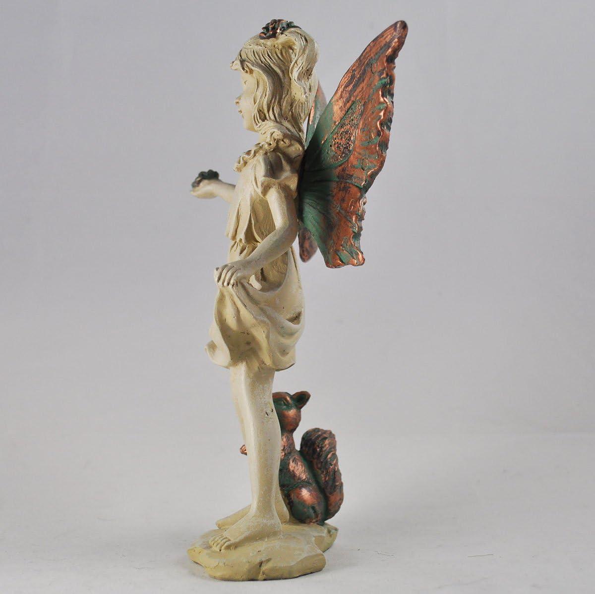 Forest Fairy avec papillon en cuivre Blanc ail/é Sculpture figurine Art D/éco Fille Jardin Home Decor Cadeau H19/cm